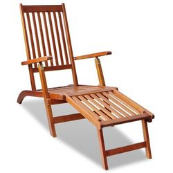 Leżak z podnóżkiem, drewno akacjowe