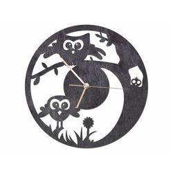 Drewniany zegar na ścianę sówka ze złotymi wskazówkami marki Congee.pl