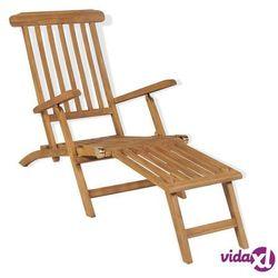 leżak z podnóżkiem, drewno tekowe, 158 x 61 x 90 cm marki Vidaxl