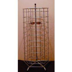 Metalowy, obrotowy, sześcienny stojak na okulary 60par - w kolorze srebrnym