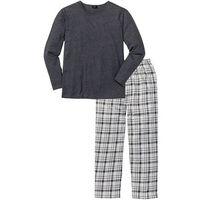 Piżama bonprix antracytowy melanż w kratę, kolor szary