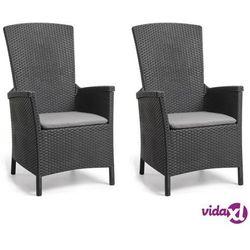 Allibert rozkładane krzesła ogrodowe vermont, 2 szt., grafitowe (8719883567464)