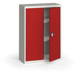 Szafa metalowa, 1150 x 800 x 400 mm, 2 półki, szara/czerwona, kolor czerwony