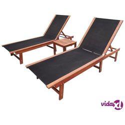 Vidaxl zestaw 2 leżaków ze stolikiem, drewno akacjowe (8718475995371)