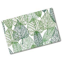 Deska do krojenia hartowana Zielone liście wzór