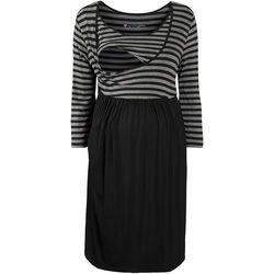 Bonprix Sukienka ciążowa i do karmienia piersią  szaro-czarny w paski, kategoria: sukienki ciążowe