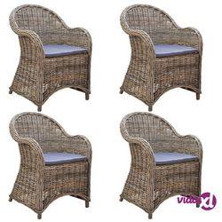 vidaXL Krzesła ogrodowe z poduszkami, 4 szt., naturalny rattan (8719883753652)