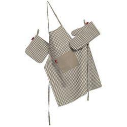komplet kuchenny łapacz, rękawica oraz fartuch, beżowo biała krateczka (0,5x0,5cm), kpl, quadro, marki Dekoria