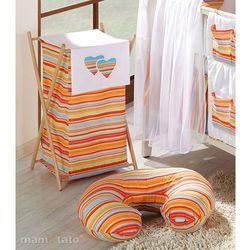 MAMO-TATO Kosz na bieliznę Serduszka w paseczkach pomarańczowych