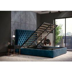 Łóżko 160x200 tapicerowane rimini + pojemnik welur lazurowe marki Big meble