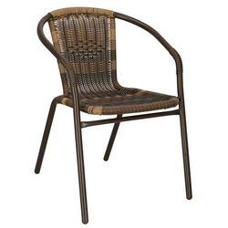 Krzesło ogrodowe plecione brązowe na taras metalowe mix