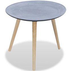 vidaXL Okrągły stolik do kawy/boczny drewno i szary betononowy wygląd