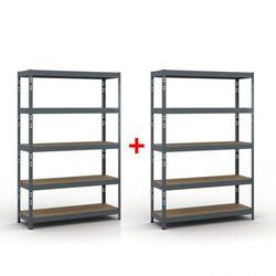 Regał półkowy 1800 x 1200 x 400 mm, nośność 280 kg 1+1 GRATIS