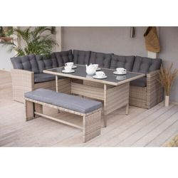 Narożnik ogrodowy technorattan + ławka i stolik MEXICO Beżowy, PP-0145