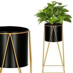 Stojak na kwiaty 52 cm z doniczką nowoczesny kwietnik loft czarno-złoty mat (5907719418940)
