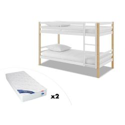Łóżko piętrowe PHILEMON - 2 × 90 × 190 cm - Lite drewno sosnowe - Biały i dąb + 2 materace ZEUS 90 × 190 cm