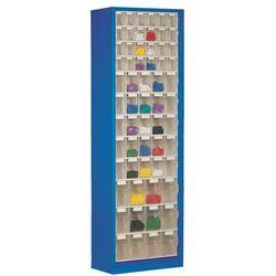 Lockweiler plastic werke Szafa magazynowa z blachy stalowej, z 61 przezroczystymi składanymi skrzynkami,