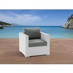 Beliani Pojedyńczy rattanowy fotel biały z podłokietnikami i poduchami - xxl (7081455279916)