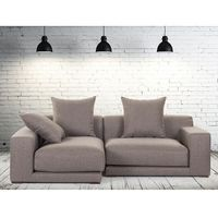 Beliani Sofa narożna p - tapicerowana - piaskowa - cloud (7081456331156)