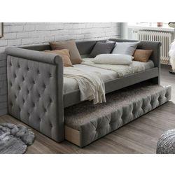 Łóżko wysuwane pikowane LOUISE - 2 × 90 × 190 cm - szara tkanina