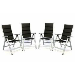 Zestaw 4 szt luksusowych regulowanych składanych krzeseł z wyściółką - czarne