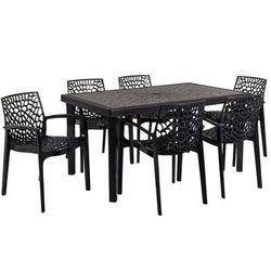 Jadalnia ogrodowa diademe – stół + 6 foteli – polipropylen – kolor szary antracytowy marki Vente-unique