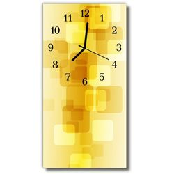 Zegar Szklany Pionowy Sztuka Złote prostokąty żółty