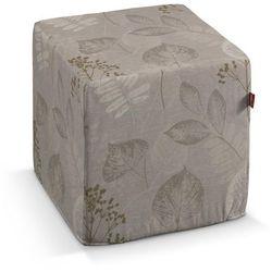 Dekoria  pufa kostka twarda, szaro-beżowe rośliny, 40x40x40 cm, norge