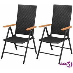 Vidaxl krzesła ogrodowe, 2 sztuki, polirattan, aluminium, czarne (8718475504030)