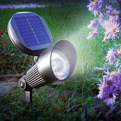 Esotec Lampa ogrodowa solarna , 102138, spotlight, led wbudowany na stałe, 2x 1,2 v (900 mah), 8 h, biały, z