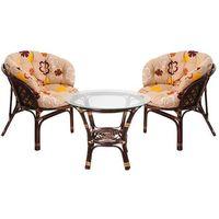 MEBLE OGRODOWE RATTANOWE BAHAMA 2+1 LATTE KWIATY Home&Garden (884651)
