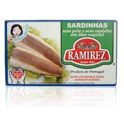 Sardynki portugalskie bez skóry i bez ości w oleju roślinnym  125g, marki Ramirez
