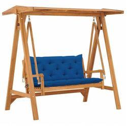 vidaXL Huśtawka ogrodowa z niebieską poduszką, 170 cm, drewno tekowe