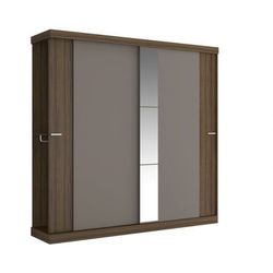 Vente-unique Szafa adalrik - podwójne drzwi przesuwne - dł.231 cm - kolor: czekoladowy i ciemnoszary