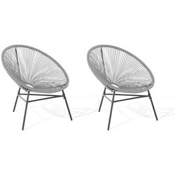 Zestaw 2 krzeseł rattanowych jasnoszary acapulco marki Beliani