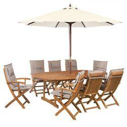 Zestaw ogrodowy drewniany poduchy szaro-beżowe parasol MAUI (4260602370741)