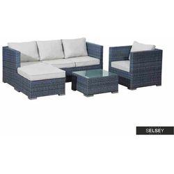 zestaw mebli ogrodowych ernot modułowy z fotelem i stolikiem szary marki Selsey