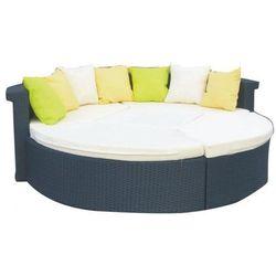 Duże łóżko ogrodowe Ron z technorattanu czarny