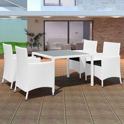 Vidaxl  zestaw mebli ogrodowych, 9 elementów polirattan kremowo-biały, kategoria: zestawy ogrodowe