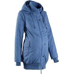 Bonprix Kurtka ciążowa z kapturem i ściągaczem  niebieski dżins, kategoria: płaszcze i kurtki ciążowe