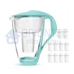 Dzbanek filtrujący szklany crystal led miętowy 2l + 10 wkładów classic marki Dafi