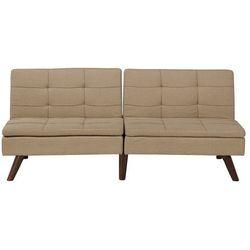 Beliani Rozkładana sofa tapicerowana jasnobrązowa ronne