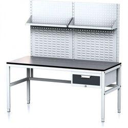 B2b partner Stół warsztatowy mechanic ii z panelem perforowanym i półkami, 1600 x 700 x 745-985 mm, 1 kontener szufladowy, szary/antracyt