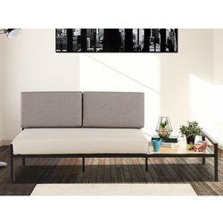 Vente-unique 2-osobowa rozkładana kanapa z tkaniny balea z wbudowaną ławą - kolor: beżowy i szary