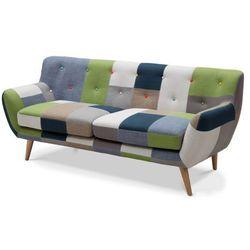 Sofa 3-osobowa serti - tkanina patchworkowa w odcieniach zielonych/niebieskich marki Vente-unique