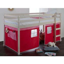 Półwysokie łóżko lilio - 90x190 cm - lita sosna - czerwono-różowe zasłony marki Vente-unique