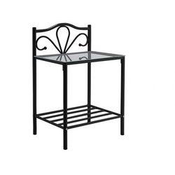 Romantyczny stolik nocny DIDON - Metal i Szkło hartowane - Czarny