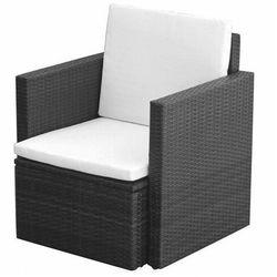 vidaXL Krzesło ogrodowe z poduszkami, polirattan, czarne, vidaxl_42669