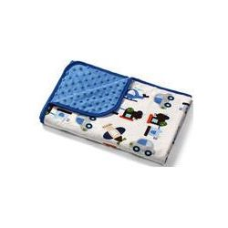 Koc z mikrofibry dwustronny bąbelki 75x100 BabyOno (niebieski)