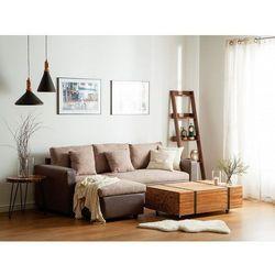 Sofa narożna tapicerowana beżowa z funkcją spania TAMPERE